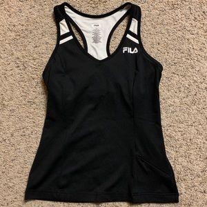 XS Fila white & black racerback tennis tank
